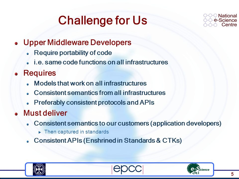 5 Challenge for Us Upper Middleware Developers Require portability of code i.e. same code functions on all infrastructures Requires Models that work o