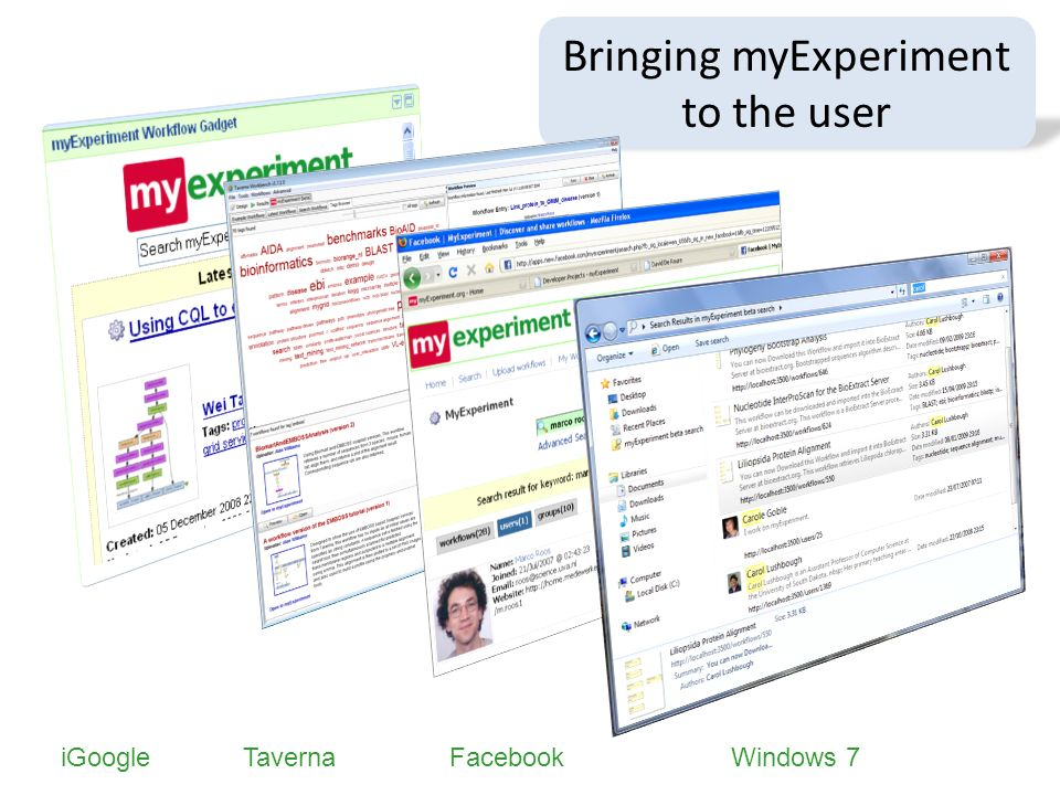 Bringing myExperiment to the user iGoogleTavernaFacebookWindows 7
