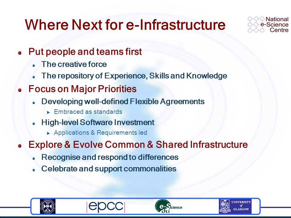 Where Next for e-Infrastructure Put people and teams first The creative force The repository of Experience, Skills and Knowledge Focus on Major Priorities Developing well-defined Flexible Agreements Embraced as standards High-level Software Investment Applications & Requirements led Explore & Evolve Common & Shared Infrastructure Recognise and respond to differences Celebrate and support commonalities
