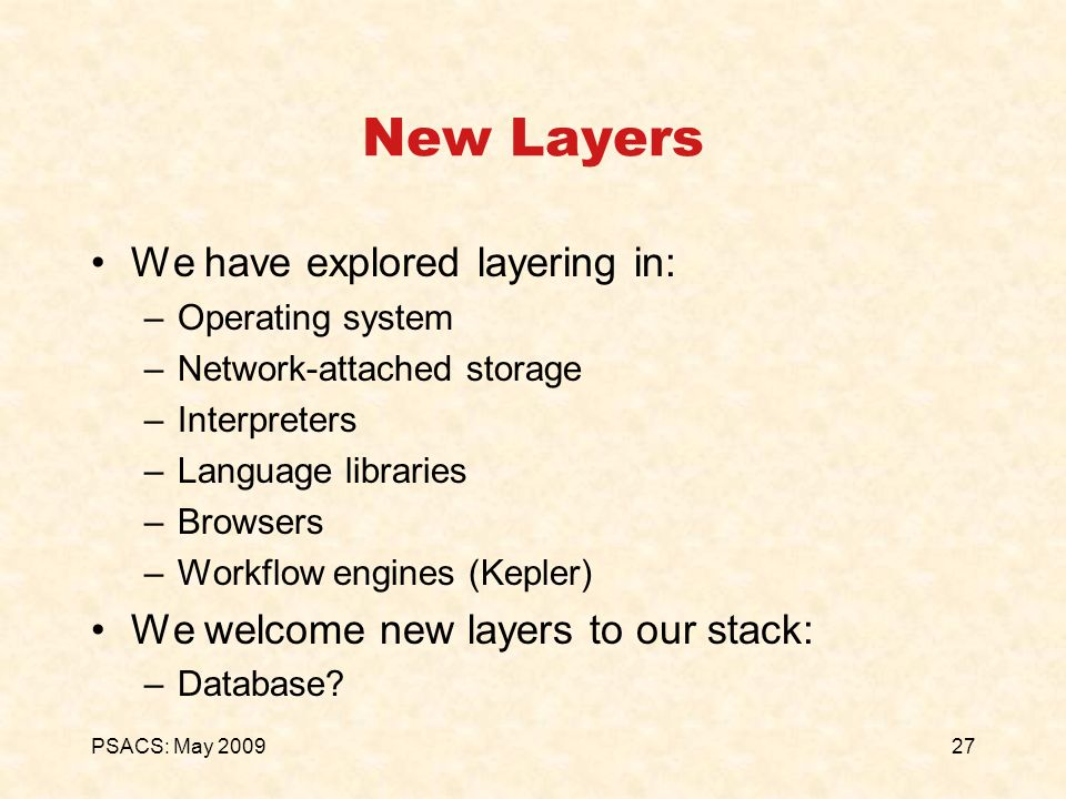 27PSACS: May 2009 New Layers We have explored layering in: –Operating system –Network-attached storage –Interpreters –Language libraries –Browsers –Wo
