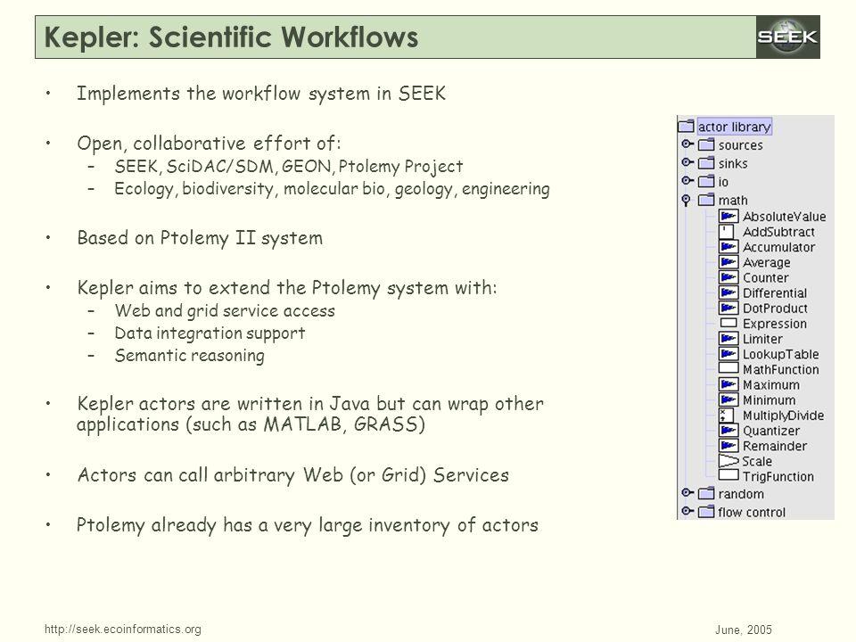 http://seek.ecoinformatics.org SWDBAug 29, 2004 June, 2005 Kepler: Scientific Workflows Implements the workflow system in SEEK Open, collaborative eff