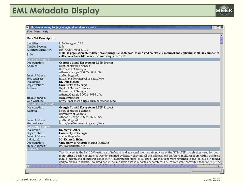 http://seek.ecoinformatics.org SWDBAug 29, 2004 June, 2005 EML Metadata Display