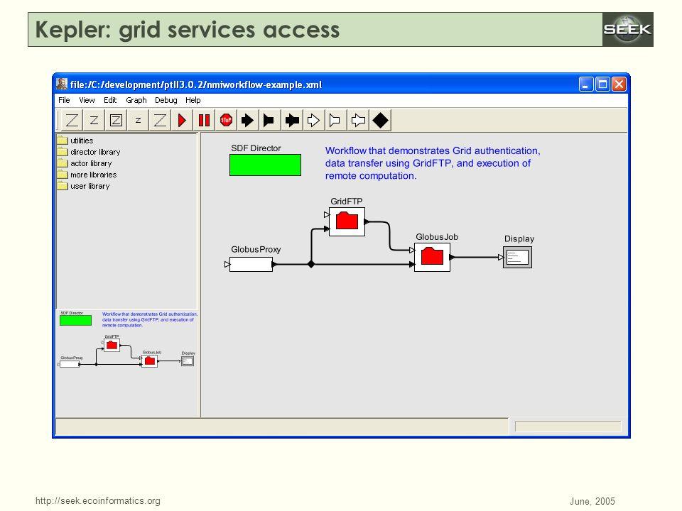 http://seek.ecoinformatics.org SWDBAug 29, 2004 June, 2005 Kepler: grid services access