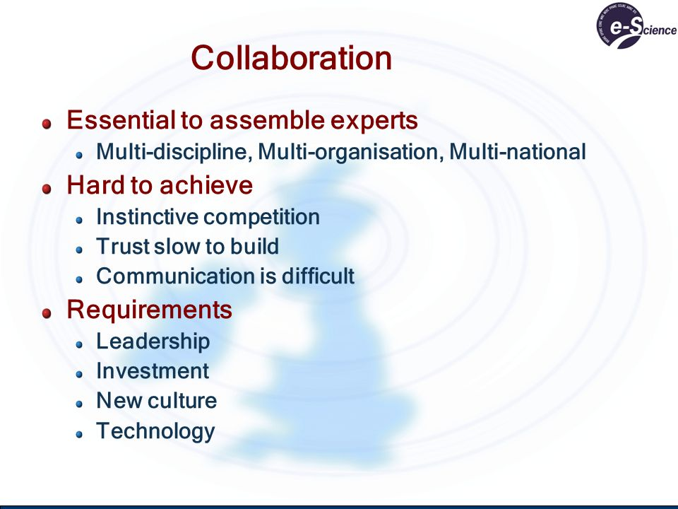 Collaboration Essential to assemble experts Multi-discipline, Multi-organisation, Multi-national Hard to achieve Instinctive competition Trust slow to build Communication is difficult Requirements Leadership Investment New culture Technology