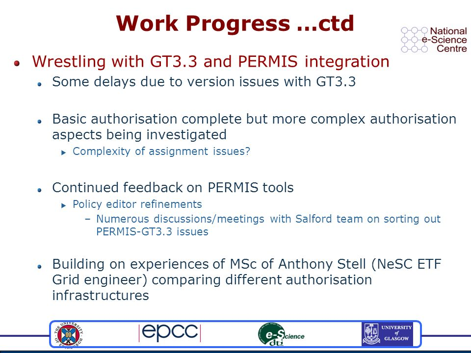 Wrestling with GT3.3 and PERMIS integration Some delays due to version issues with GT3.3 Basic authorisation complete but more complex authorisation aspects being investigated Complexity of assignment issues.