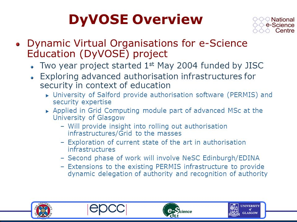 Dynamic Virtual Organisations for e-Science Education (DyVOSE) project Two year project started 1 st May 2004 funded by JISC Exploring advanced author