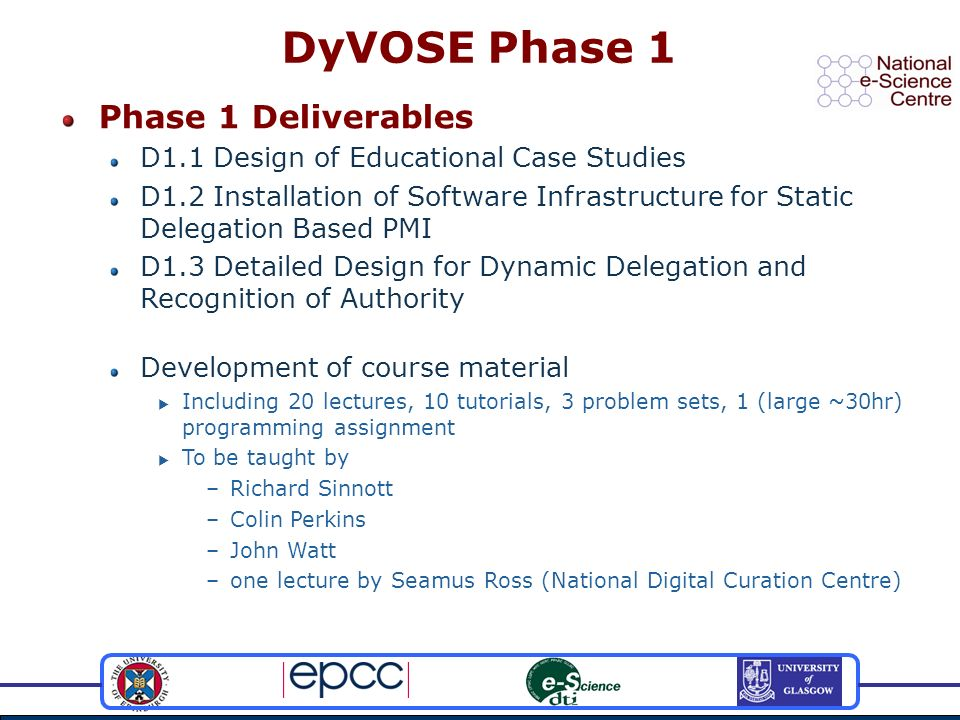 Phase 1 Deliverables D1.1 Design of Educational Case Studies D1.2 Installation of Software Infrastructure for Static Delegation Based PMI D1.3 Detailed Design for Dynamic Delegation and Recognition of Authority Development of course material Including 20 lectures, 10 tutorials, 3 problem sets, 1 (large ~30hr) programming assignment To be taught by –Richard Sinnott –Colin Perkins –John Watt –one lecture by Seamus Ross (National Digital Curation Centre) DyVOSE Phase 1