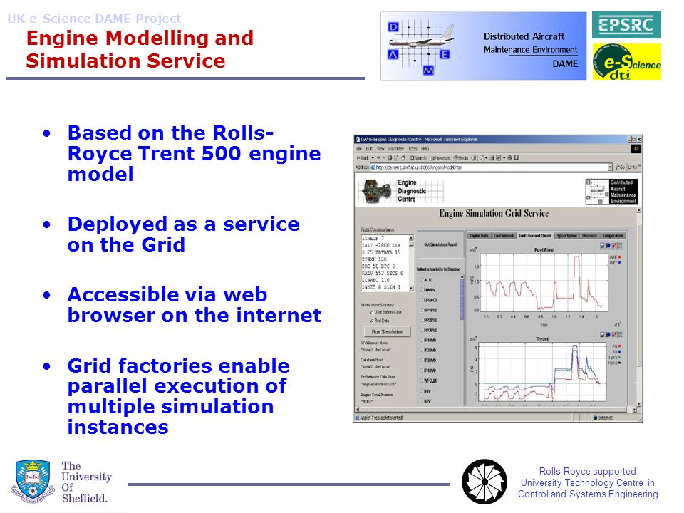 Rolls-Royce supported University Technology Centre in Control and Systems Engineering UK e-Science DAME Project Engine Modelling and Simulation Service Based on the Rolls- Royce Trent 500 engine model Deployed as a service on the Grid Accessible via web browser on the internet Grid factories enable parallel execution of multiple simulation instances