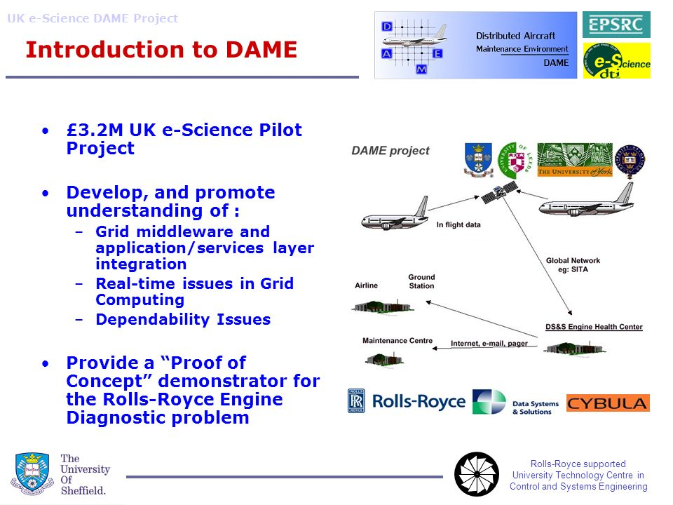 Rolls-Royce supported University Technology Centre in Control and Systems Engineering UK e-Science DAME Project Introduction to DAME £3.2M UK e-Science Pilot Project Develop, and promote understanding of : –Grid middleware and application/services layer integration –Real-time issues in Grid Computing –Dependability Issues Provide a Proof of Concept demonstrator for the Rolls-Royce Engine Diagnostic problem