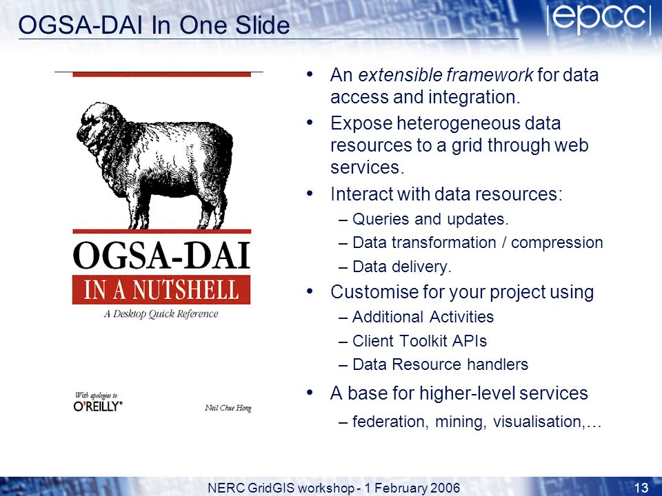 NERC GridGIS workshop - 1 February 200613 OGSA-DAI In One Slide An extensible framework for data access and integration.
