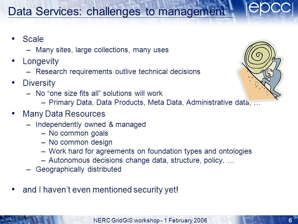NERC GridGIS workshop - 1 February 20066 Data Services: challenges to management Scale –Many sites, large collections, many uses Longevity –Research requirements outlive technical decisions Diversity –No one size fits all solutions will work –Primary Data, Data Products, Meta Data, Administrative data, … Many Data Resources –Independently owned & managed –No common goals –No common design –Work hard for agreements on foundation types and ontologies –Autonomous decisions change data, structure, policy, … –Geographically distributed and I havent even mentioned security yet!