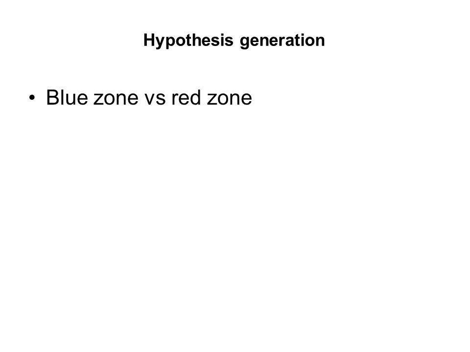 Hypothesis generation Blue zone vs red zone