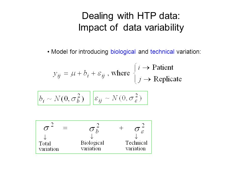 Dealing with HTP data: Impact of data variability Model for introducing biological and technical variation: