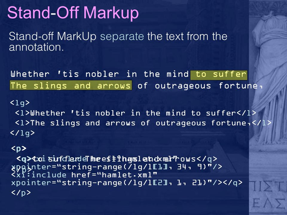 Stand-Off Markup Stand-off MarkUp separate the text from the annotation.