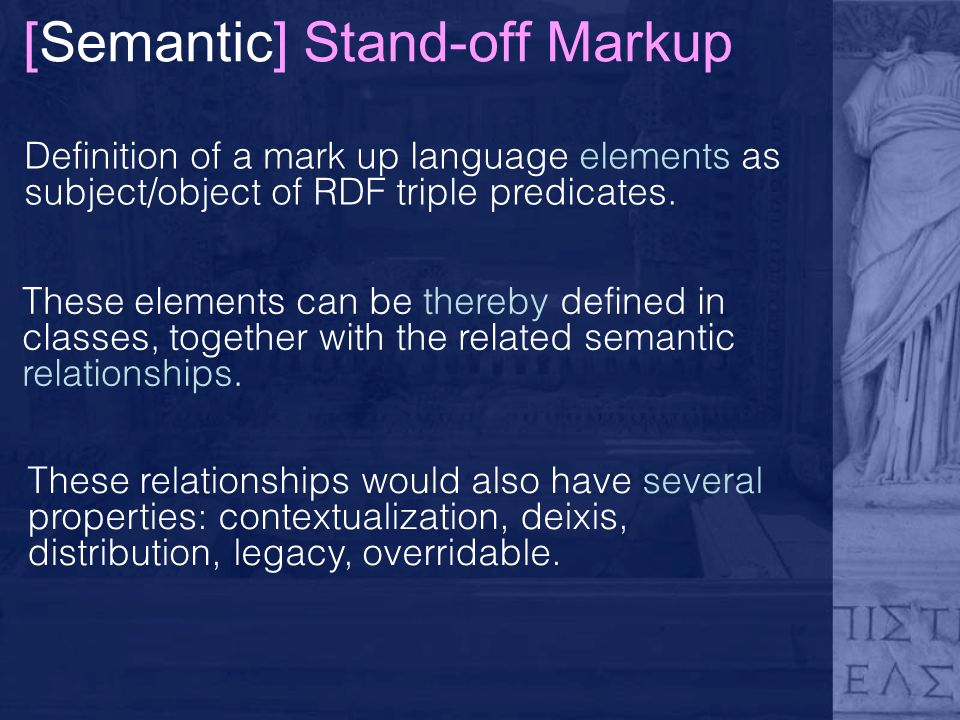 [Semantic] Stand-off Markup Definition of a mark up language elements as subject/object of RDF triple predicates.