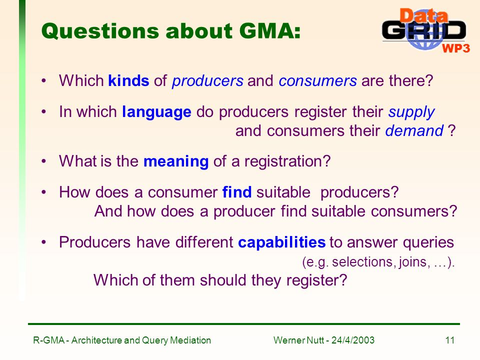 WP3 Werner Nutt - 24/4/2003R-GMA - Architecture and Query Mediation11 Questions about GMA: Which kinds of producers and consumers are there.