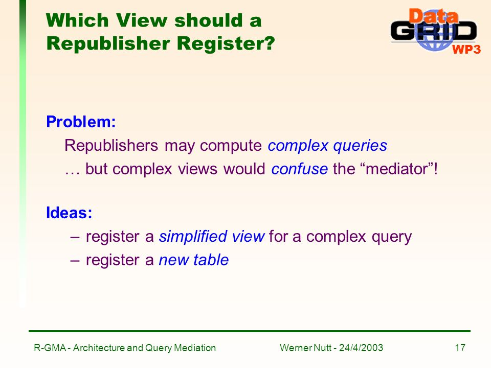 WP3 Werner Nutt - 24/4/2003R-GMA - Architecture and Query Mediation17 Which View should a Republisher Register.