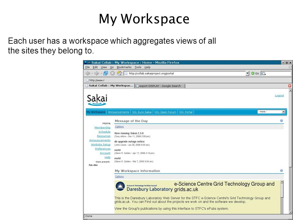 My Workspace Each user has a workspace which aggregates views of all the sites they belong to.