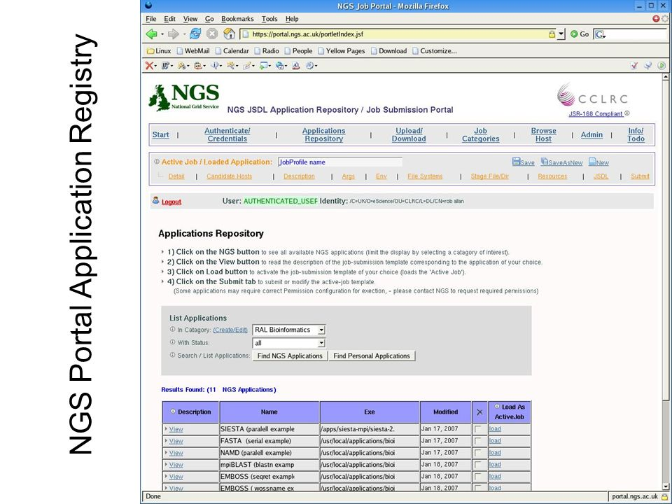 NGS Portal Application Registry