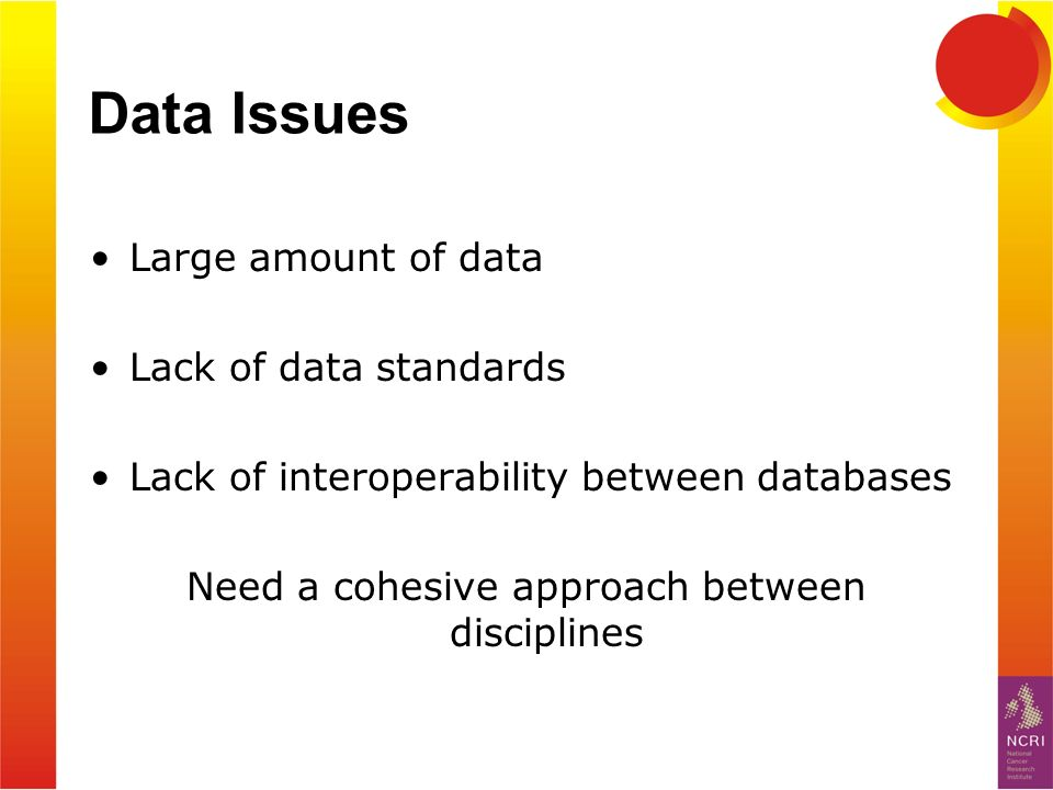 Data Issues Large amount of data Lack of data standards Lack of interoperability between databases Need a cohesive approach between disciplines