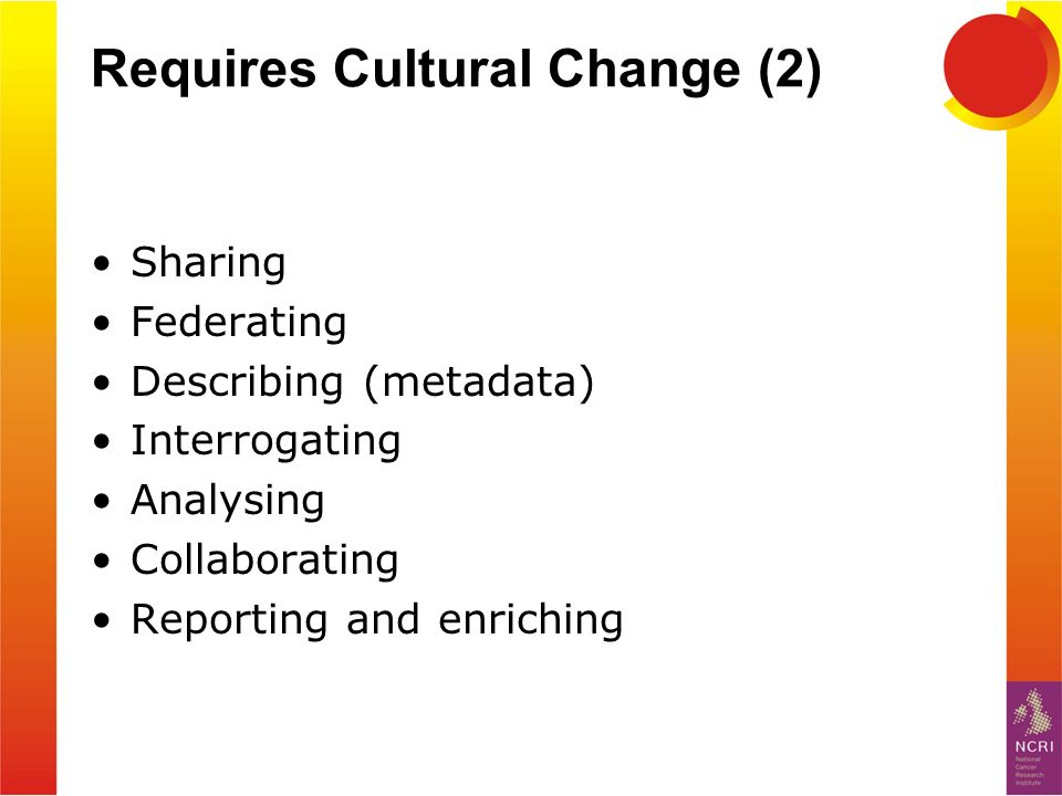 Requires Cultural Change (2) Sharing Federating Describing (metadata) Interrogating Analysing Collaborating Reporting and enriching