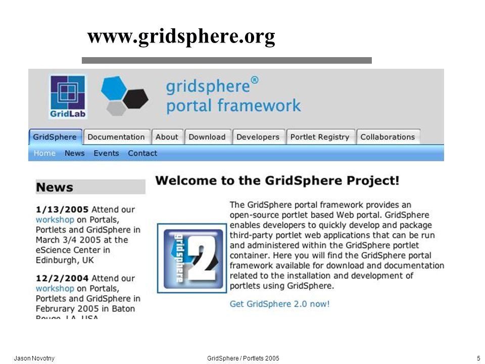 Jason Novotny GridSphere / Portlets 2005 5 www.gridsphere.org