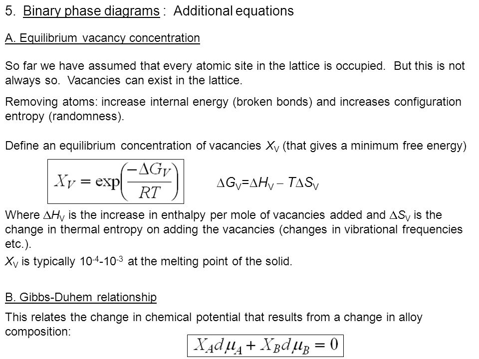 5.Binary phase diagrams : Additional equations A. Equilibrium vacancy concentration So far we have assumed that every atomic site in the lattice is oc