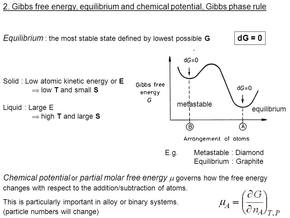 Gibbs phase rule for equilibrium phase : Examples : Single component system C=1 and F = 3 K If 1 phases in equilibrium (e.g.