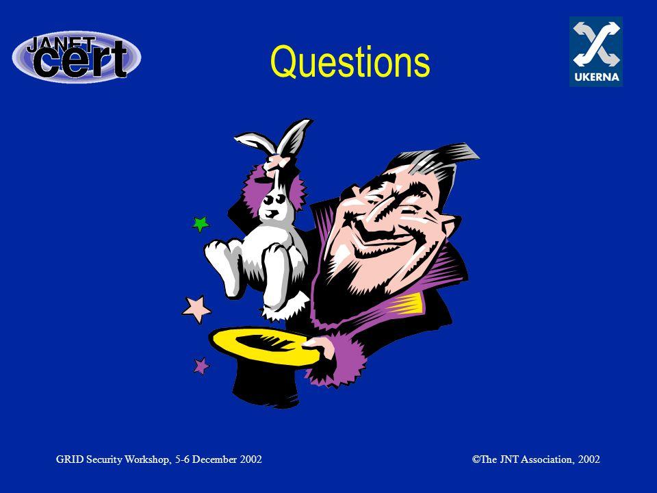 GRID Security Workshop, 5-6 December 2002©The JNT Association, 2002 Questions