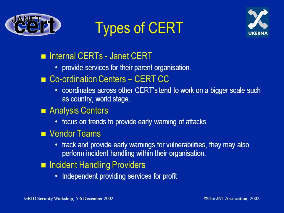 GRID Security Workshop, 5-6 December 2002©The JNT Association, 2002 Why a CERT 1997 19991998200220012000