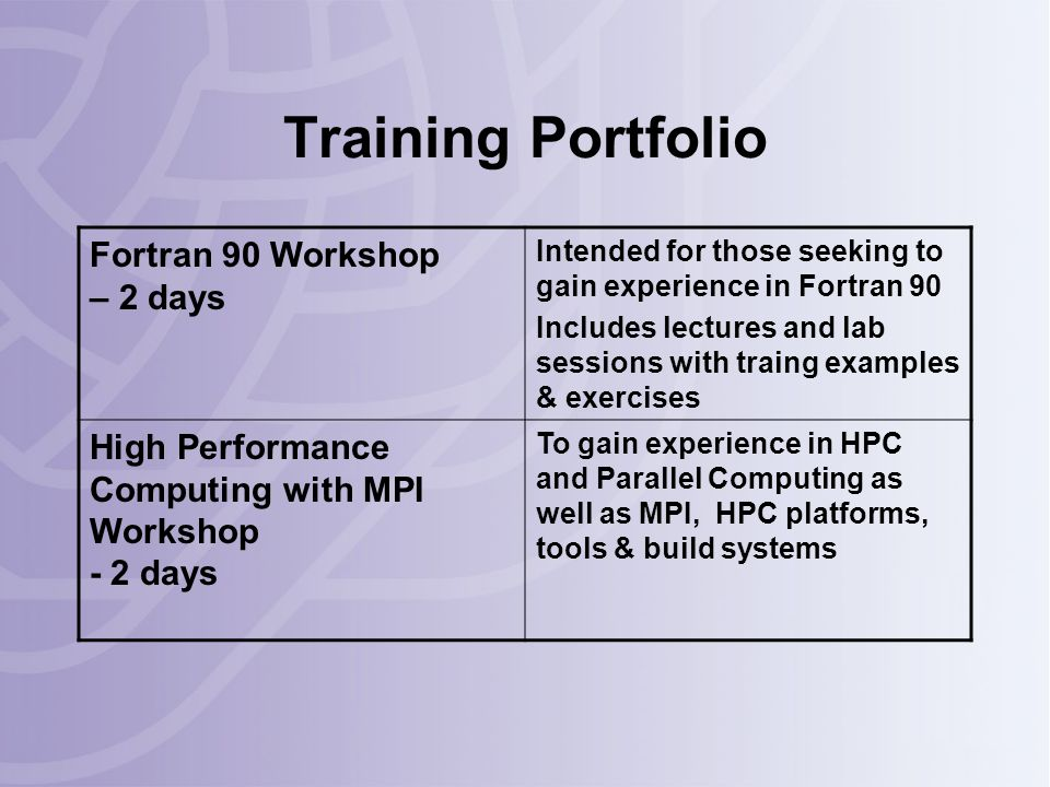 Training Portfolio Fortran 90 Workshop – 2 days Intended for those seeking to gain experience in Fortran 90 Includes lectures and lab sessions with traing examples & exercises High Performance Computing with MPI Workshop - 2 days To gain experience in HPC and Parallel Computing as well as MPI, HPC platforms, tools & build systems
