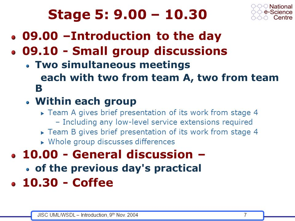 JISC UML/WSDL – Introduction, 9 th Nov. 20047 Stage 5: 9.00 – 10.30 09.00 –Introduction to the day 09.10 - Small group discussions Two simultaneous me