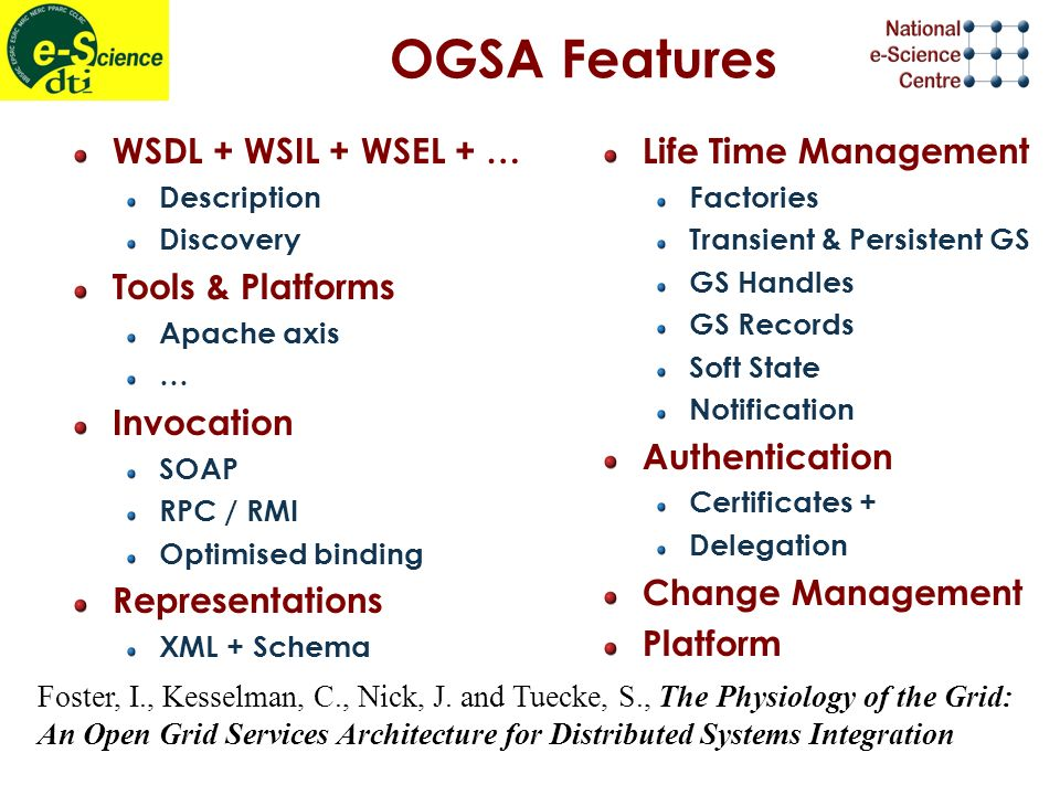 OGSA Features WSDL + WSIL + WSEL + … Description Discovery Tools & Platforms Apache axis … Invocation SOAP RPC / RMI Optimised binding Representations