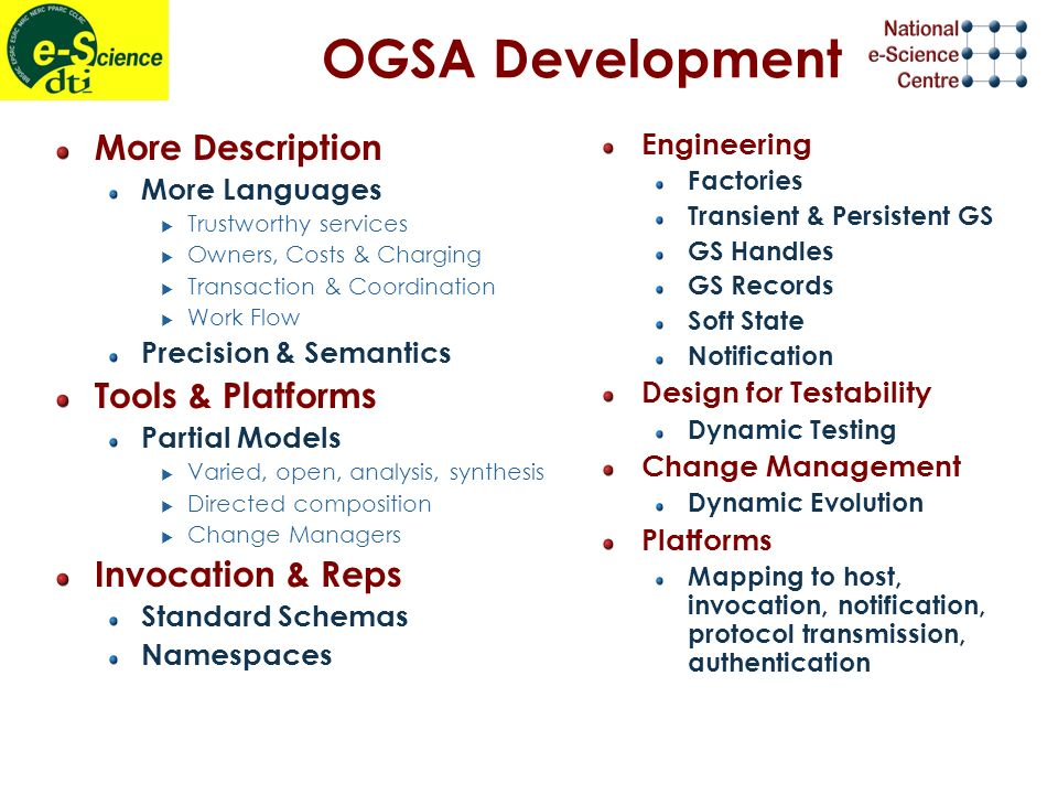 OGSA Development More Description More Languages Trustworthy services Owners, Costs & Charging Transaction & Coordination Work Flow Precision & Semantics Tools & Platforms Partial Models Varied, open, analysis, synthesis Directed composition Change Managers Invocation & Reps Standard Schemas Namespaces Engineering Factories Transient & Persistent GS GS Handles GS Records Soft State Notification Design for Testability Dynamic Testing Change Management Dynamic Evolution Platforms Mapping to host, invocation, notification, protocol transmission, authentication
