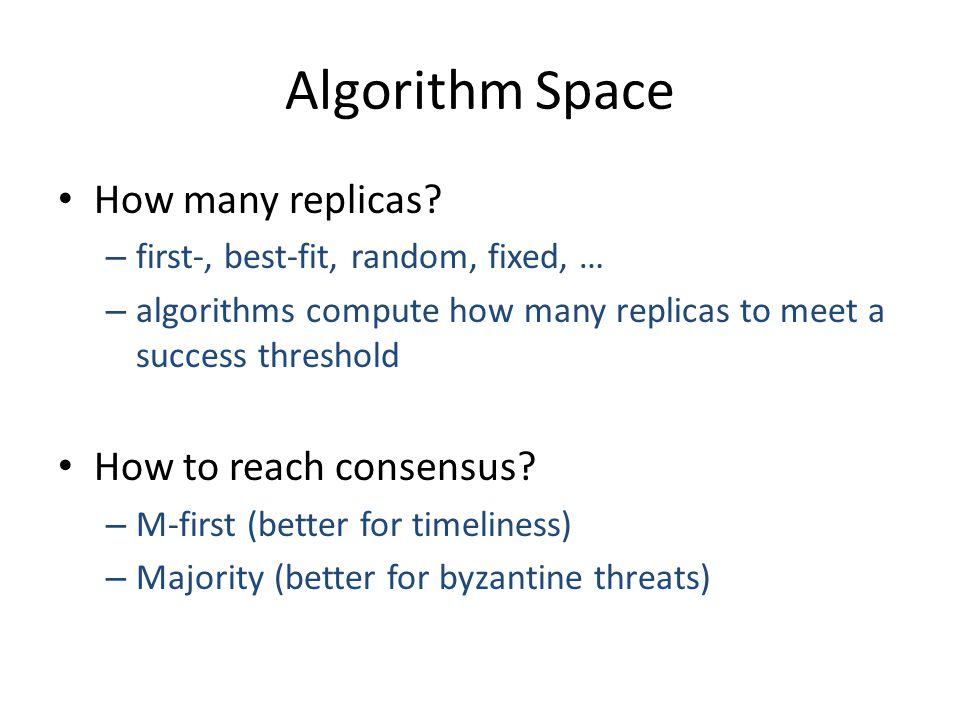 Algorithm Space How many replicas.