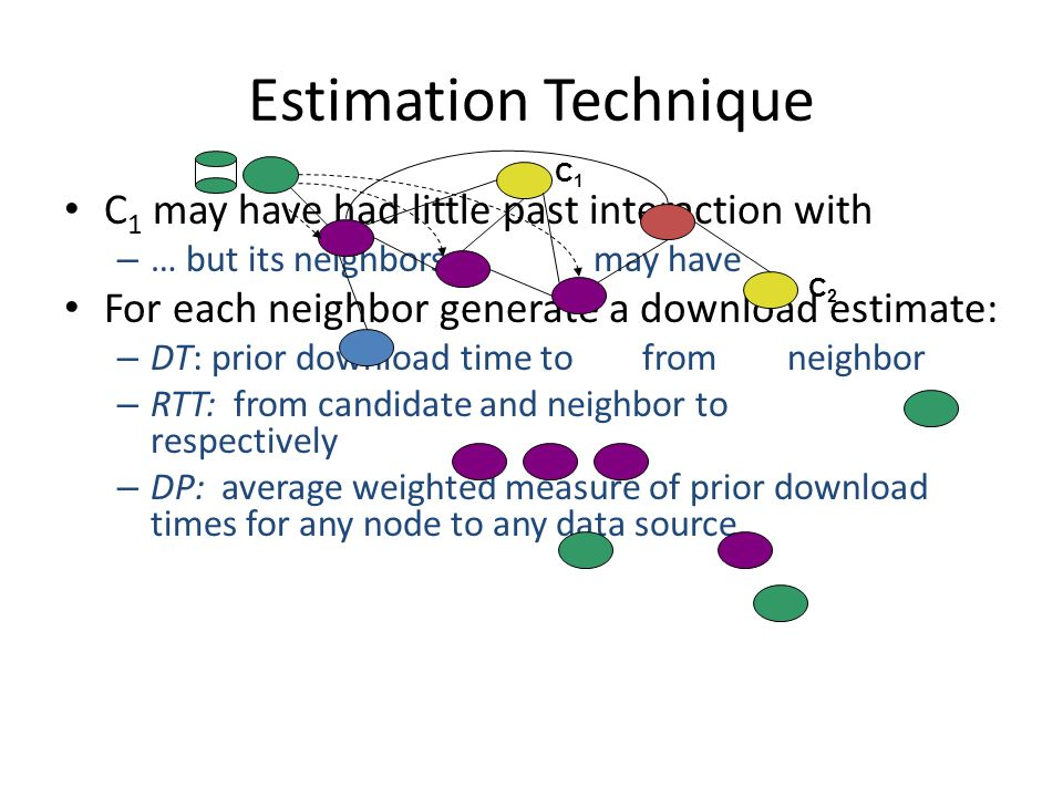Estimation Technique C 1 may have had little past interaction with – … but its neighbors may have For each neighbor generate a download estimate: – DT: prior download time to from neighbor – RTT: from candidate and neighbor to respectively – DP: average weighted measure of prior download times for any node to any data source C1C1 C2C2