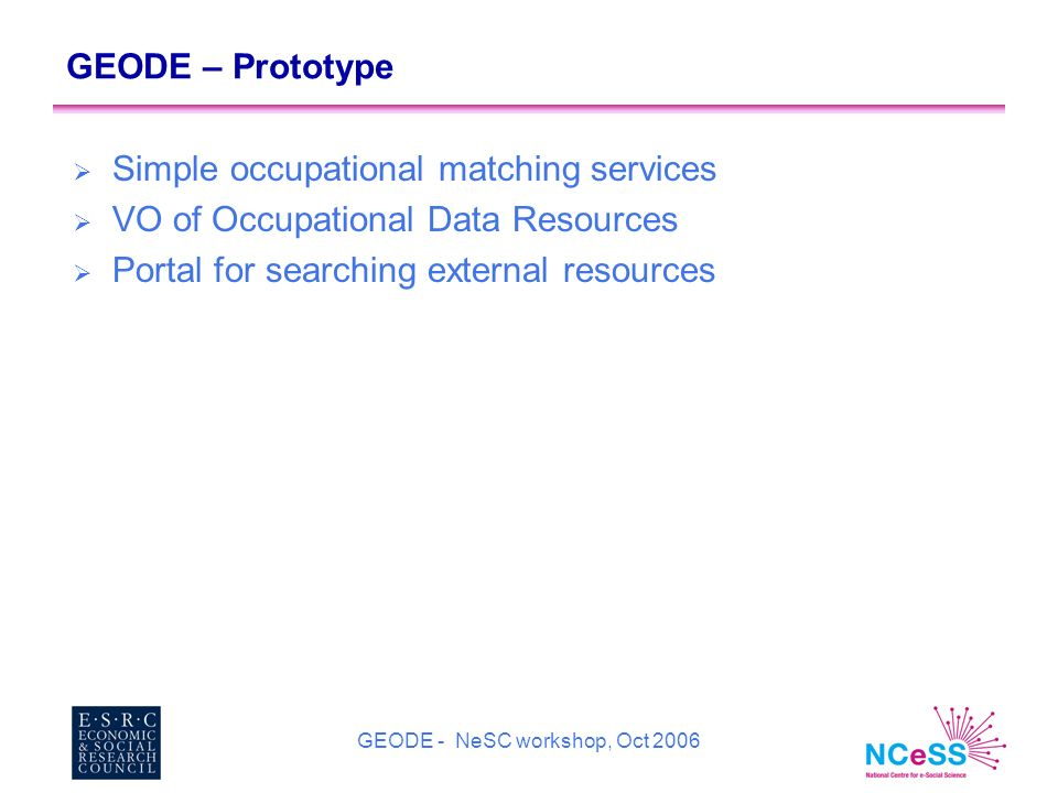 GEODE - NeSC workshop, Oct 2006 GEODE – Prototype Simple occupational matching services VO of Occupational Data Resources Portal for searching external resources