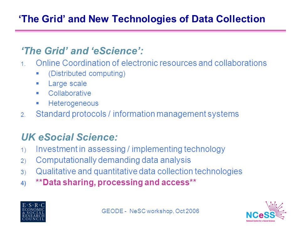 GEODE - NeSC workshop, Oct 2006 The Grid and New Technologies of Data Collection The Grid and eScience: 1.