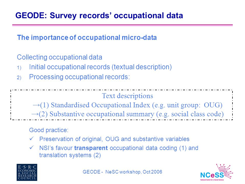 GEODE - NeSC workshop, Oct 2006 GEODE: Survey records occupational data The importance of occupational micro-data Collecting occupational data 1) Initial occupational records (textual description) 2) Processing occupational records: Good practice: Preservation of original, OUG and substantive variables NSIs favour transparent occupational data coding (1) and translation systems (2) Text descriptions (1) Standardised Occupational Index (e.g.