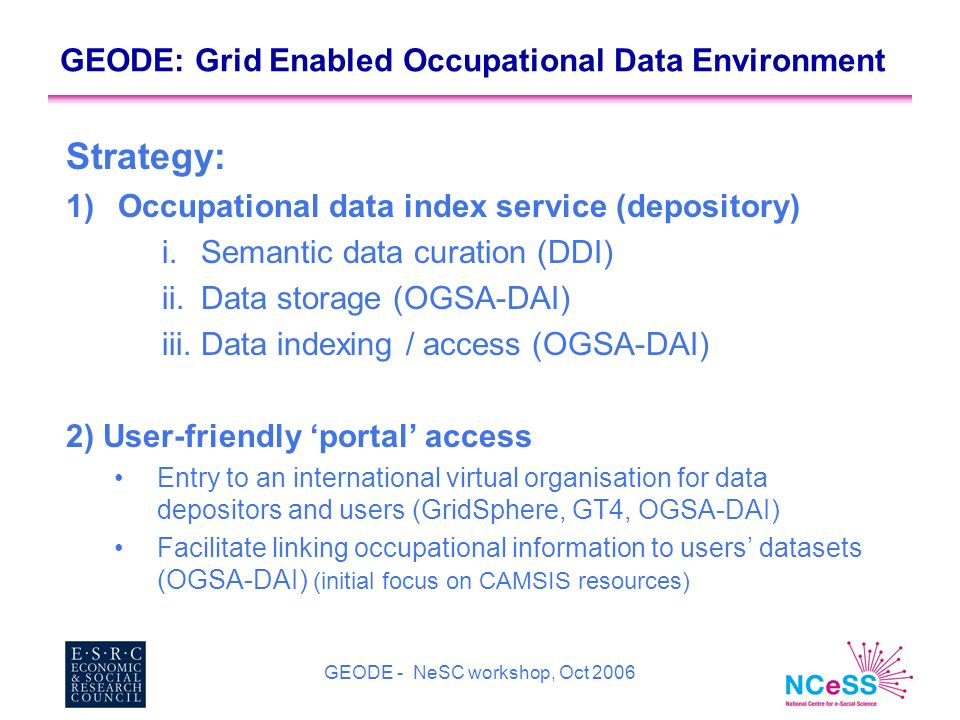 GEODE - NeSC workshop, Oct 2006 GEODE: Grid Enabled Occupational Data Environment Strategy: 1)Occupational data index service (depository) i.Semantic data curation (DDI) ii.Data storage (OGSA-DAI) iii.Data indexing / access (OGSA-DAI) 2) User-friendly portal access Entry to an international virtual organisation for data depositors and users (GridSphere, GT4, OGSA-DAI) Facilitate linking occupational information to users datasets (OGSA-DAI) (initial focus on CAMSIS resources)