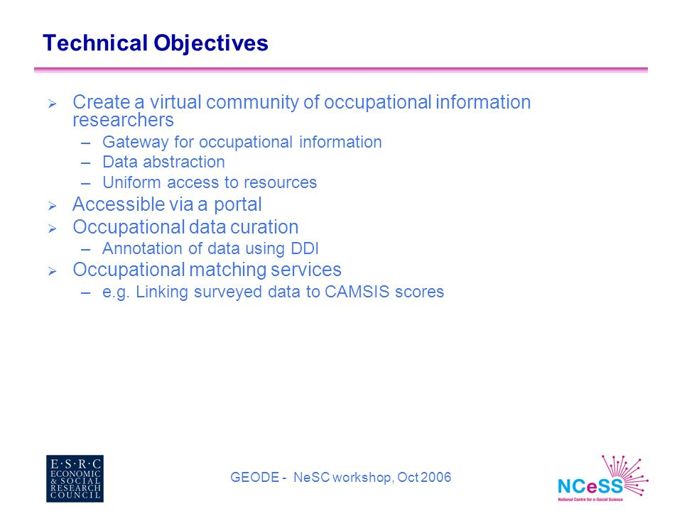 GEODE - NeSC workshop, Oct 2006 Technical Objectives Create a virtual community of occupational information researchers –Gateway for occupational information –Data abstraction –Uniform access to resources Accessible via a portal Occupational data curation –Annotation of data using DDI Occupational matching services –e.g.