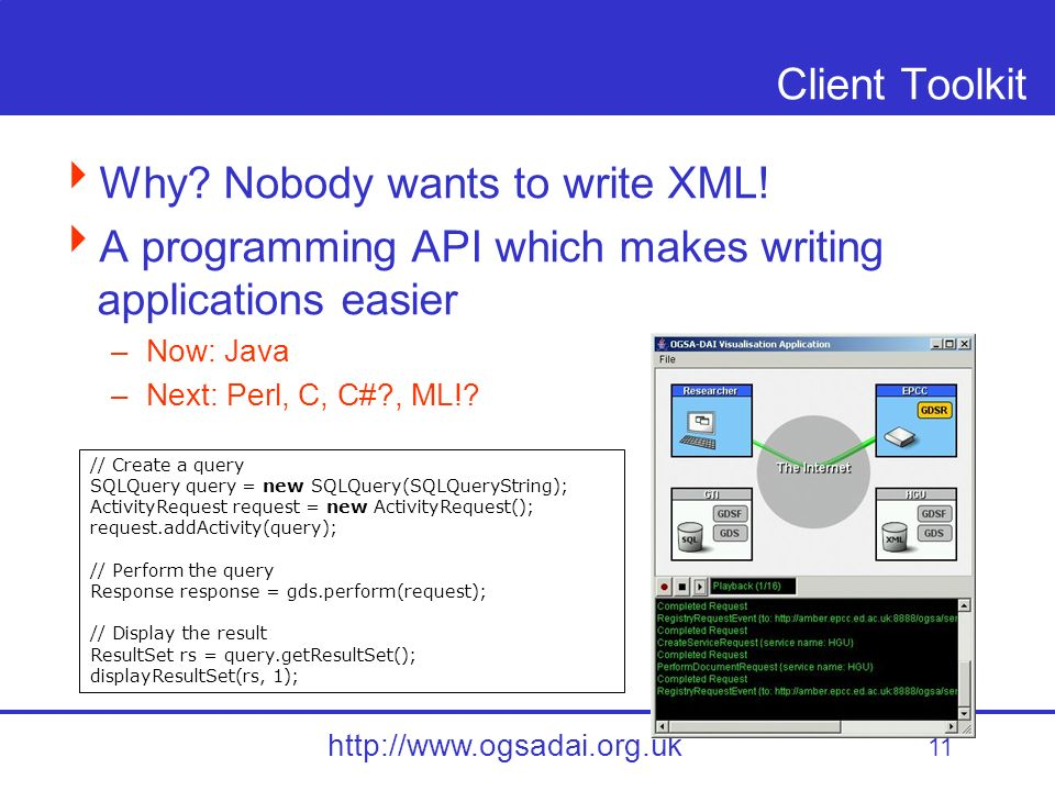11 http://www.ogsadai.org.uk Client Toolkit Why. Nobody wants to write XML.
