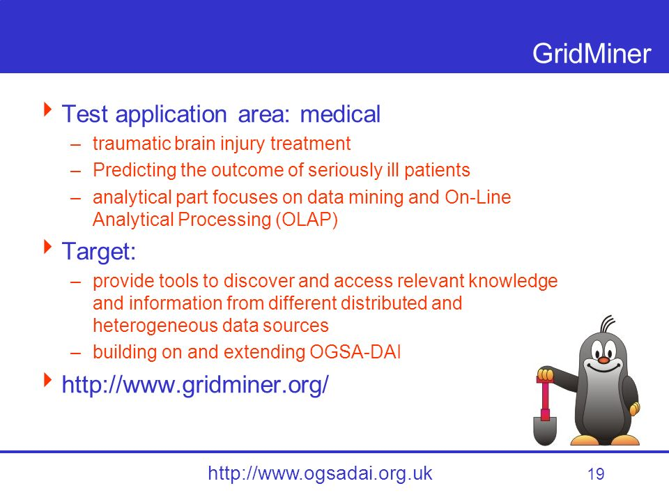 19 http://www.ogsadai.org.uk GridMiner Test application area: medical –traumatic brain injury treatment –Predicting the outcome of seriously ill patients –analytical part focuses on data mining and On-Line Analytical Processing (OLAP) Target: –provide tools to discover and access relevant knowledge and information from different distributed and heterogeneous data sources –building on and extending OGSA-DAI http://www.gridminer.org/