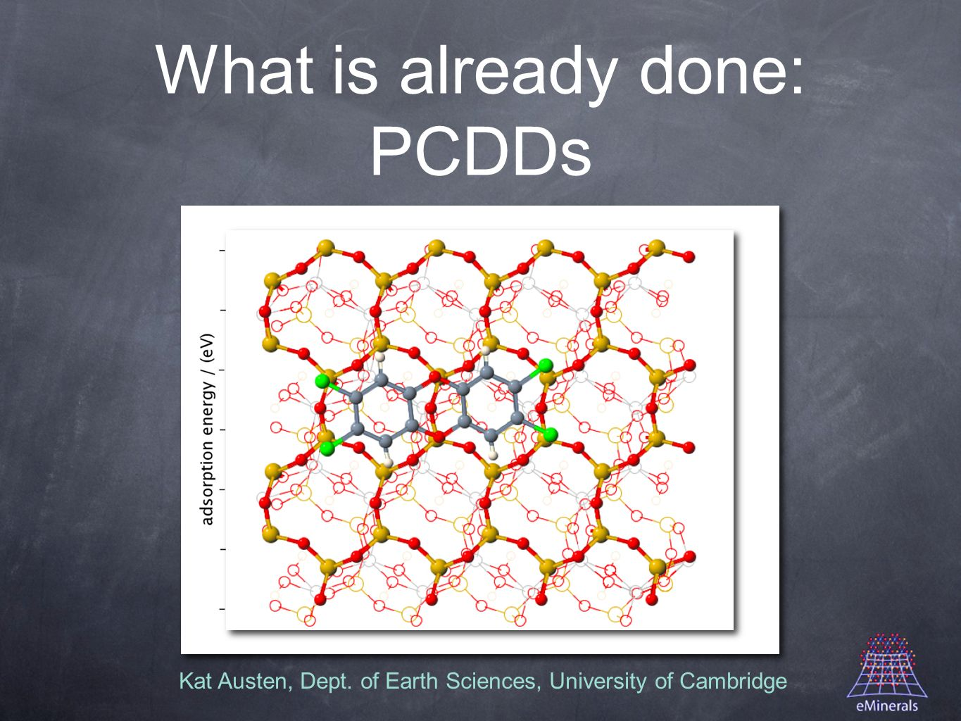Kat Austen, Dept. of Earth Sciences, University of Cambridge What is already done: PCDDs