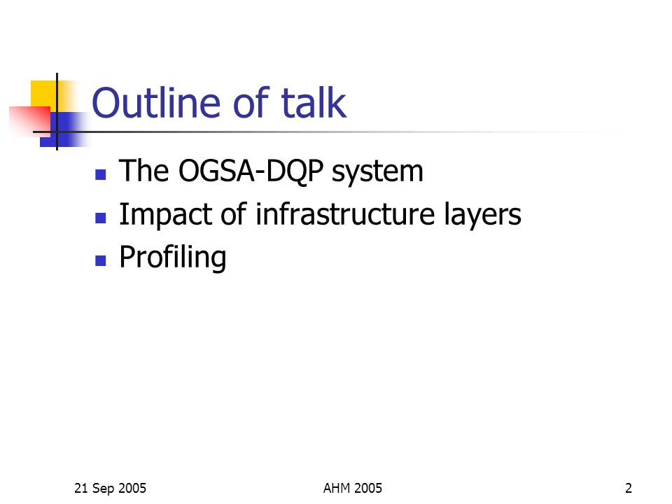 21 Sep 2005AHM 20052 Outline of talk The OGSA-DQP system Impact of infrastructure layers Profiling