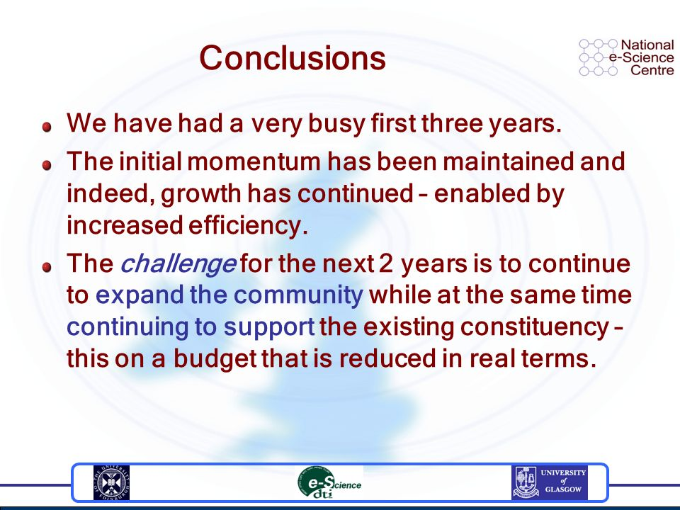 Conclusions We have had a very busy first three years. The initial momentum has been maintained and indeed, growth has continued – enabled by increase