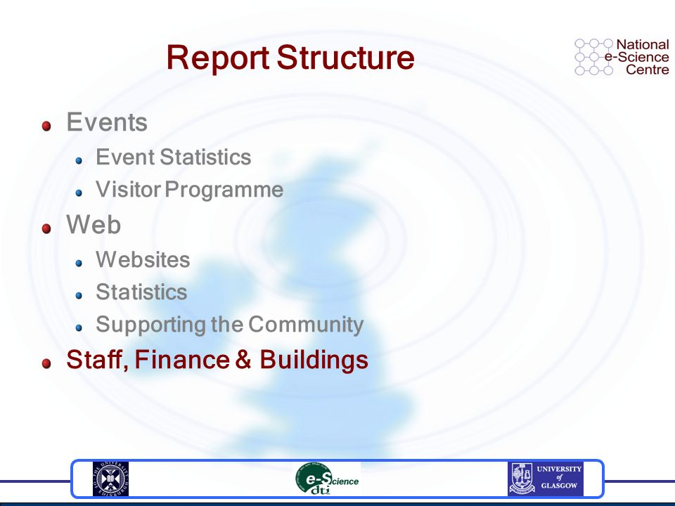 Report Structure Events Event Statistics Visitor Programme Web Websites Statistics Supporting the Community Staff, Finance & Buildings
