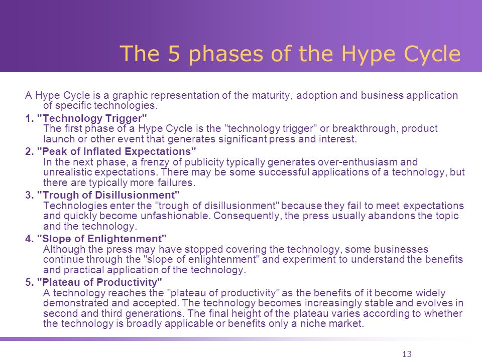 13 The 5 phases of the Hype Cycle A Hype Cycle is a graphic representation of the maturity, adoption and business application of specific technologies.