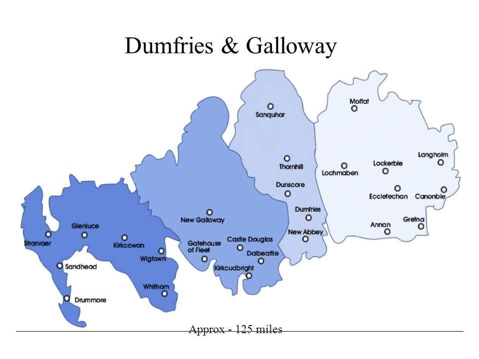 Dumfries & Galloway Approx - 125 miles