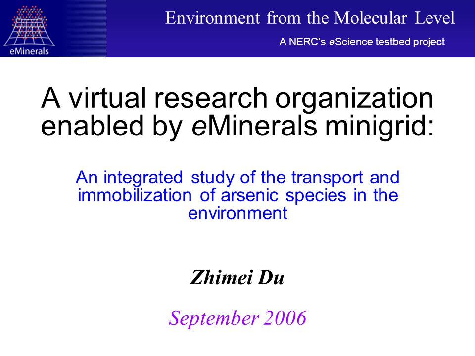 A virtual research organization enabled by eMinerals minigrid: An integrated study of the transport and immobilization of arsenic species in the envir